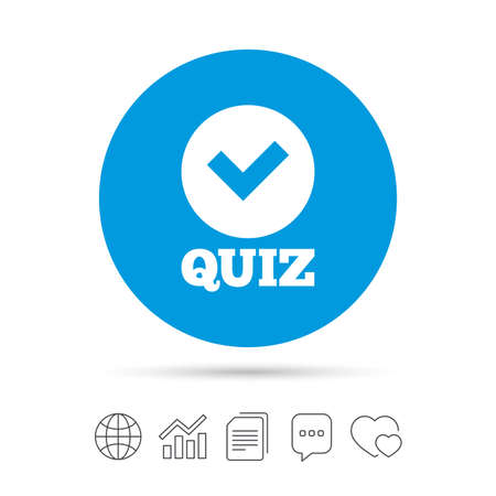Illustration pour Quiz with check sign icon. Questions and answers game symbol. Copy files, chat speech bubble and chart web icons. Vector - image libre de droit