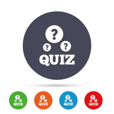 Illustration pour Quiz with question marks sign icon. Questions and answers game symbol. Round colourful buttons with flat icons. Vector - image libre de droit
