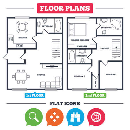 Ilustración de Architecture plan with furniture. House floor plan. Magnifier glass and globe search icons. Fullscreen arrows and binocular search sign symbols. Kitchen, lounge and bathroom. Vector - Imagen libre de derechos