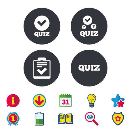 Illustration pour Quiz icons. Checklist with check mark symbol. Survey poll or questionnaire feedback form sign. Calendar, Information and Download signs. Stars, Award and Book icons. Light bulb, Shield and Search - image libre de droit