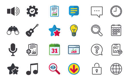 Illustration pour Musical elements icons. Microphone and Sound speaker symbols. Music note and acoustic guitar signs. Chat, Report and Calendar signs. Stars, Statistics and Download icons. Question, Clock and Globe - image libre de droit