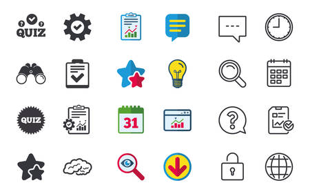 Illustration pour Quiz icons. Human brain think. Checklist symbol. Survey poll or questionnaire feedback form. Questions and answers game sign. Chat, Report and Calendar signs. Stars, Statistics and Download icons - image libre de droit