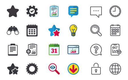 Illustration pour Calendar and Star favorite icons. Checklist and cogwheel gear sign symbols. Chat, Report and Calendar signs. Stars, Statistics and Download icons. Question, Clock and Globe. Vector - image libre de droit