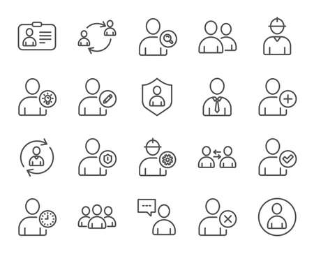 Ilustración de Users line icons. Profile, Group and Support signs. ID card, Teamwork and Businessman symbols. Person talk, Engineer and Human Management. Quality design elements. Editable stroke. Vector - Imagen libre de derechos