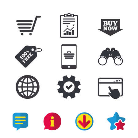 Illustration pour Online shopping icons. Smartphone, shopping cart, buy now arrow and internet signs. WWW globe symbol. Browser window, Report and Service signs. Binoculars, Information and Download icons. Vector - image libre de droit