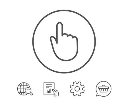 Illustration for Hand Click line icon. Finger touch sign. Cursor pointer symbol. Hold Report, Service and Global search line signs. Shopping cart icon. Editable stroke. Vector - Royalty Free Image