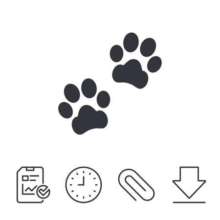 Ilustración de Paw sign icon. Dog pets steps symbol. Report, Time and Download line signs. Paper Clip linear icon. Vector - Imagen libre de derechos