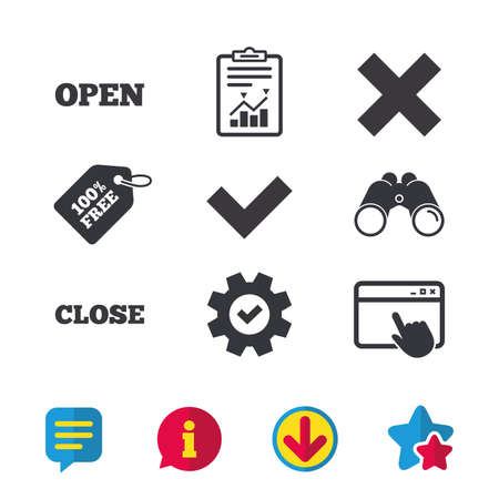 Illustration pour Open and Close icons. Check or Tick. Delete remove signs. Yes correct and cancel symbol. Browser window, Report and Service signs. Binoculars, Information and Download icons. Stars and Chat. Vector - image libre de droit
