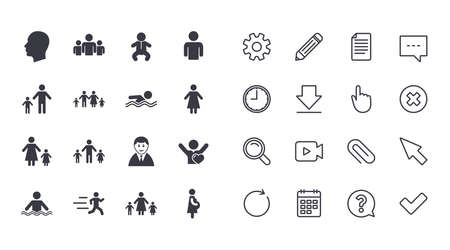 Illustration pour Set of People and Family icons. Swimming pool, Love and Children signs. Mother, Father and Pregnant woman symbols. Calendar, Document and Download line signs. Pencil, Service and Search icons. Vector - image libre de droit