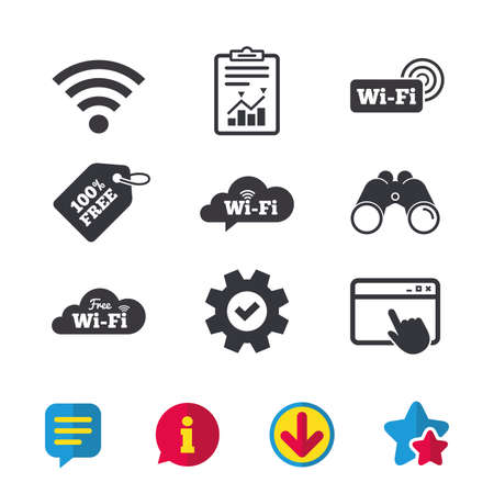 Illustration pour Free Wifi Wireless Network cloud speech bubble icons. Wi-fi zone sign symbols. Browser window, Report and Service signs. Binoculars, Information and Download icons. Stars and Chat. Vector - image libre de droit