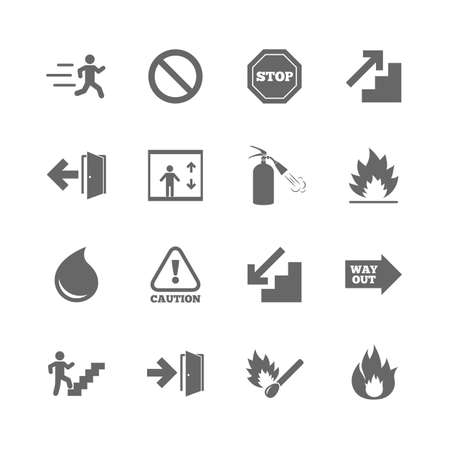 Illustration for Set of Emergency, Fire safety and Protection icons. Extinguisher, Exit and Attention signs. Caution, Water drop and Way out symbols. Isolated flat icons set on white background. Vector - Royalty Free Image