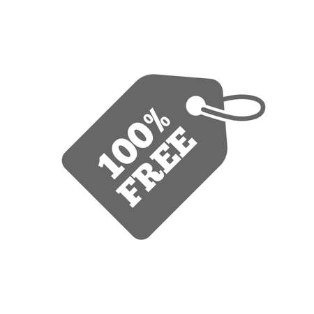 Illustrazione per Free tag icon. Freebies banner symbol. Shopping special offer sign. Isolated flat icon on white background. Vector - Immagini Royalty Free