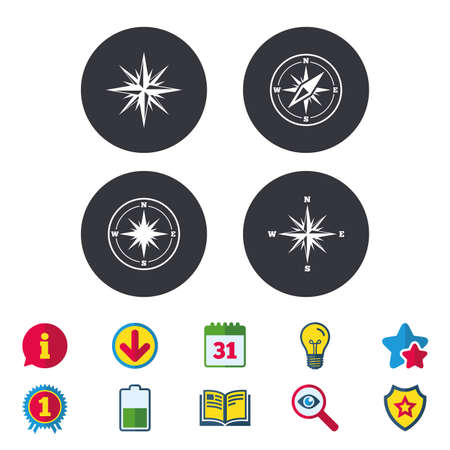 Illustration pour Windrose navigation icons. Compass symbols. Coordinate system sign. Calendar, Information and Download signs. Stars, Award and Book icons. Light bulb, Shield and Search. Vector - image libre de droit