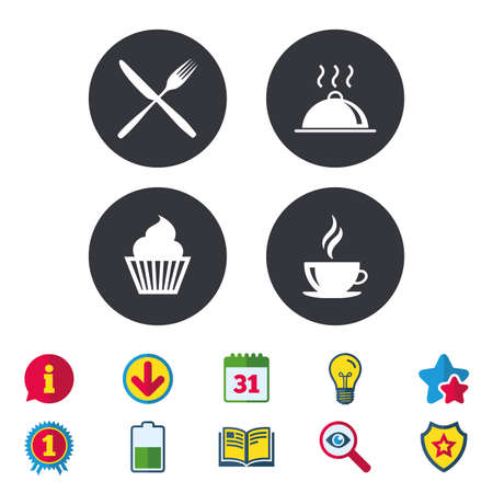Illustration pour Food and drink icons. Muffin cupcake symbol. Fork and knife sign. Hot coffee cup. Food platter serving. Calendar, Information and Download signs. Stars, Award and Book icons. Vector - image libre de droit
