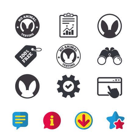 Illustration pour No animals testing icons. Non-human experiments signs symbols. Browser window, Report and Service signs. Binoculars, Information and Download icons. Stars and Chat. Vector - image libre de droit