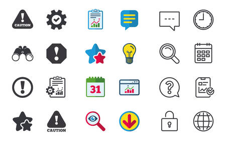 Illustration pour Attention caution icons. Hazard warning symbols. Exclamation sign. Chat, Report and Calendar signs. Stars, Statistics and Download icons. Question, Clock and Globe. Vector - image libre de droit