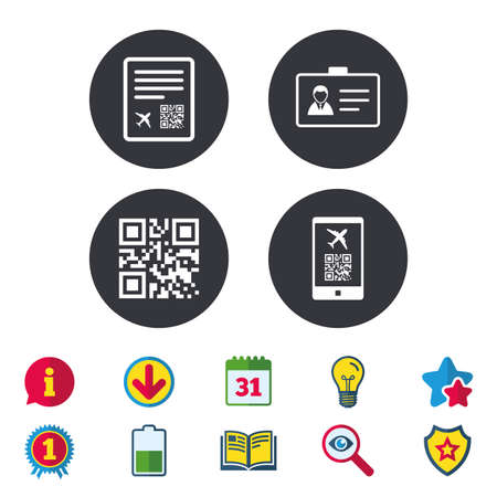 Illustration pour QR scan code in smartphone icon. Boarding pass flight sign. Identity ID card badge symbol. Calendar, Information and Download signs. Stars, Award and Book icons. Light bulb, Shield and Search. Vector - image libre de droit