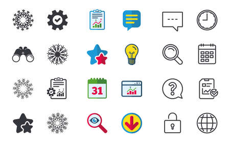 Illustration pour Snowflakes artistic icons. Air conditioning signs. Christmas and New year winter symbols. Chat, Report and Calendar signs. Stars, Statistics and Download icons. Question, Clock and Globe. Vector - image libre de droit