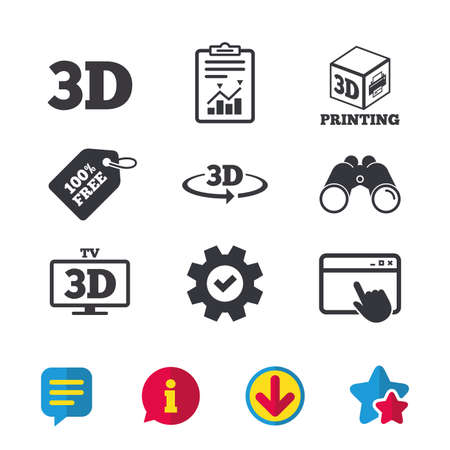 Illustration pour 3d technology icons. Printer, rotation arrow sign symbols. Print cube. Browser window, Report and Service signs. Binoculars, Information and Download icons. Stars and Chat. Vector - image libre de droit
