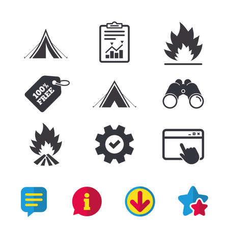 Illustration pour Tourist camping tent icons. Fire flame sign symbols. Browser window, Report and Service signs. Binoculars, Information and Download icons. Stars and Chat. Vector - image libre de droit