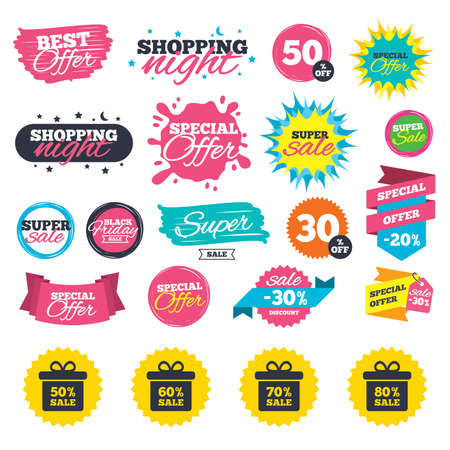 Illustration pour Sale shopping banners. Sale gift box tag icons. Discount special offer symbols. 50%, 60%, 70% and 80% percent sale signs. Web badges, splash and stickers. Best offer. Vector - image libre de droit