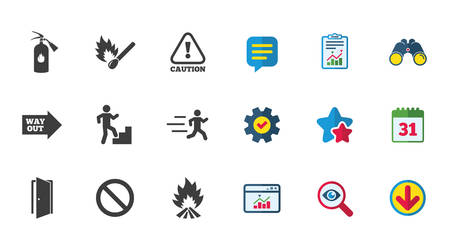 Illustration for Fire safety, emergency icons. Fire extinguisher, exit and attention signs. Caution, water drop and way out symbols. Calendar, Report and Download signs. Stars, Service and Search icons. Vector - Royalty Free Image