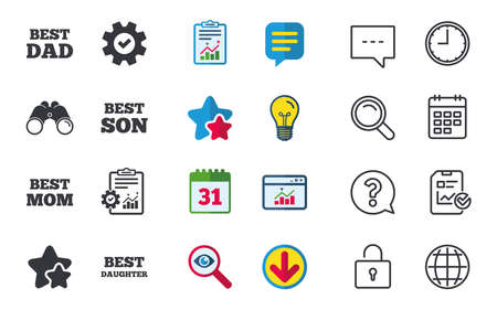 Illustration pour Best mom and dad, son and daughter icons. Award symbols. Chat, Report and Calendar signs. Stars, Statistics and Download icons. Question, Clock and Globe. Vector - image libre de droit