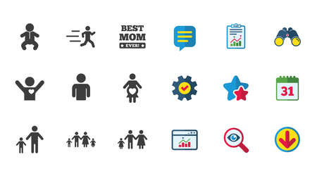 Illustration pour People, family icons. Maternity, person and baby signs. Best mom, father and mother symbols. Calendar, Report and Download signs. Stars, Service and Search icons. Statistics, Binoculars and Chat - image libre de droit