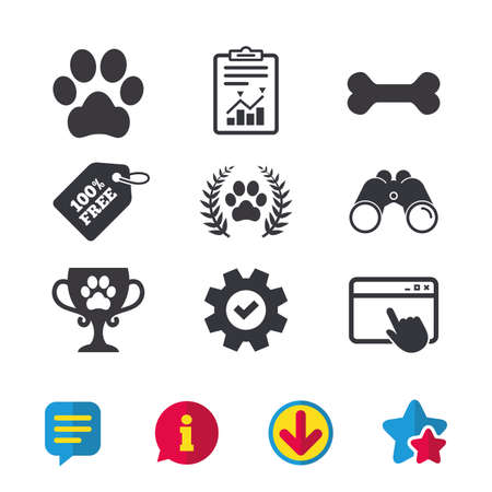 Illustration pour Pets icons. Dog paw sign. Winner laurel wreath and cup symbol. Pets food. Browser window, Report and Service signs. Binoculars, Information and Download icons. Stars and Chat. Vector - image libre de droit