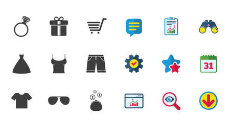 Illustration pour Clothes, accessories icons. T-shirt, sunglasses signs. Wedding dress and ring symbols. Calendar, Report and Download signs. Stars, Service and Search icons. Statistics, Binoculars and Chat. Vector - image libre de droit