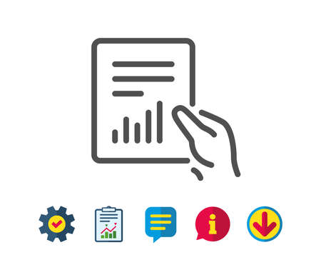 Illustration pour Hold Report document line icon. Analysis Chart or Sales growth sign. Statistics data symbol. Report, Service and Information line signs. Download, Speech bubble icons. Editable stroke. Vector - image libre de droit