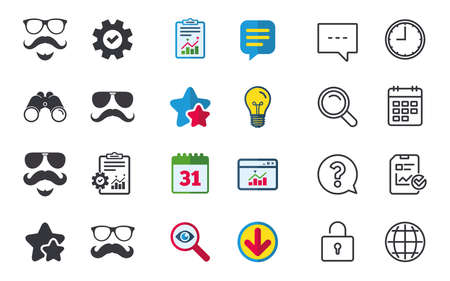 Illustration pour Mustache and Glasses icons. Hipster with beard symbols. Facial hair signs. Chat, Report and Calendar signs. Stars, Statistics and Download icons. Question, Clock and Globe. Vector - image libre de droit