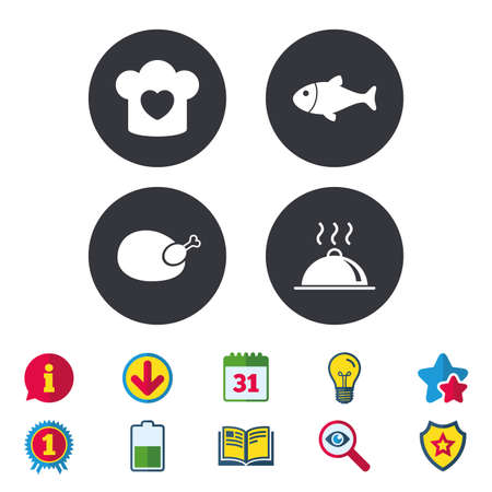 Illustration pour Chief hat with heart and cooking pan icons. Fish and chicken signs. Hot food platter serving symbol. Calendar, Information and Download signs. Stars, Award and Book icons. Vector - image libre de droit