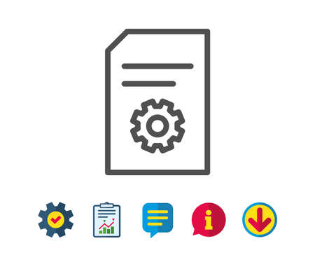 Illustration pour Document Management line icon. Information File with Cogwheel sign. Paper page concept symbol. Report, Service and Information line signs. Download, Speech bubble icons. Editable stroke. Vector - image libre de droit