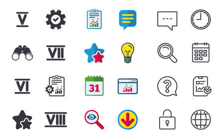 Illustration pour Roman numeral icons. 5, 6, 7 and 8 digit characters. Ancient Rome numeric system. Chat, Report and Calendar signs. Stars, Statistics and Download icons. Question, Clock and Globe. Vector - image libre de droit