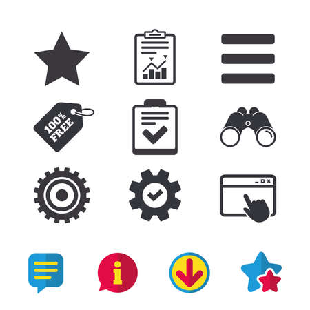 Illustration pour Star favorite and menu list icons. Checklist and cogwheel gear sign symbols. Browser window, Report and Service signs. Binoculars, Information and Download icons. Stars and Chat. Vector - image libre de droit