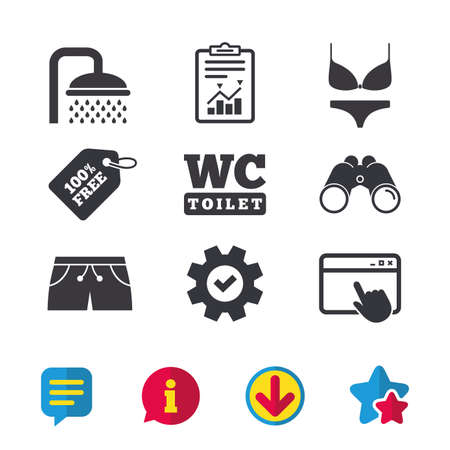 Illustration pour Swimming pool icons. Shower water drops and swimwear symbols. WC Toilet sign. Trunks and women underwear. Browser window, Report and Service signs. Binoculars, Information and Download icons. Vector - image libre de droit