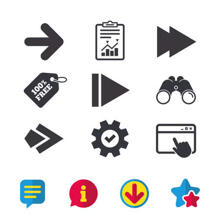 Illustration pour Arrow icons. Next navigation arrowhead signs. Direction symbols. Browser window, Report and Service signs. Binoculars, Information and Download icons. Stars and Chat. Vector - image libre de droit