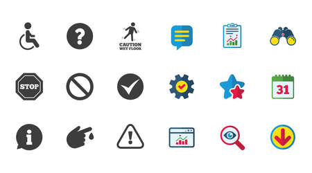 Illustration pour Attention caution icons. Question mark and information signs. Injury and disabled person symbols. Calendar, Report and Download signs. Stars, Service and Search icons. Statistics, Binoculars and Chat - image libre de droit