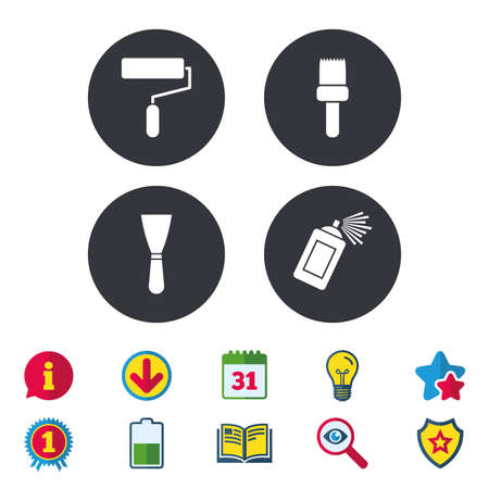Illustration pour Paint roller, brush icons. Spray can and Spatula signs. Wall repair tool and painting symbol. Calendar, Information and Download signs. Stars, Award and Book icons. Light bulb, Shield and Search - image libre de droit