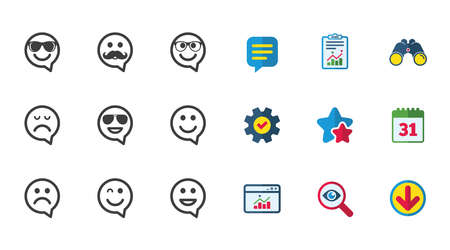Illustration pour Smile speech bubbles icons. Happy, sad and wink faces signs. Sunglasses, mustache and laughing lol smiley symbols. Calendar, Report and Download signs. Stars, Service and Search icons. Vector - image libre de droit