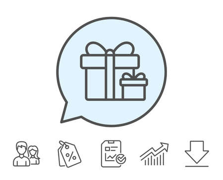 Illustration pour Gift boxes line icon. Present or Sale sign. Birthday Shopping symbol. Package in Gift Wrap. Report, Sale Coupons and Chart line signs. Download, Group icons. Editable stroke. Vector - image libre de droit