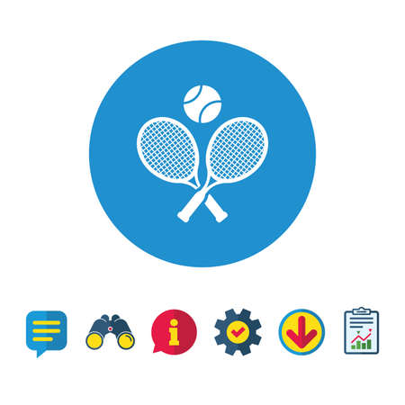 Illustration pour Tennis rackets with ball sign icon. Sport symbol. Information, Report and Speech bubble signs. Binoculars, Service and Download icons. Vector - image libre de droit