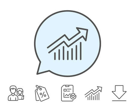 Illustration pour Chart line icon. Report graph or Sales growth sign. Analysis and Statistics data symbol. Report, Sale Coupons and Chart line signs. Download, Group icons. Editable stroke. Vector - image libre de droit