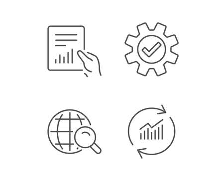 Illustration pour Analysis, Statistics line icons. Chart, Report and Internet search signs. Data and Presentation symbols. Quality design elements. Editable stroke. Vector - image libre de droit