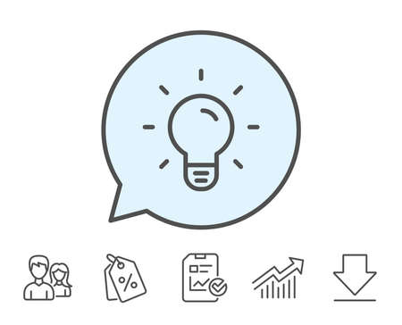 Illustrazione per Light Bulb line icon. Lamp sign. Idea, Solution or Thinking symbol. Report, Sale Coupons and Chart line signs. Download, Group icons. Editable stroke. Vector - Immagini Royalty Free