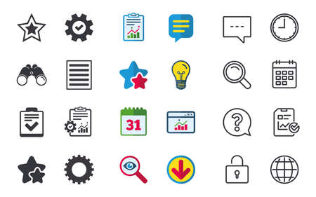 Illustration pour Star favorite and menu list icons. Checklist and cogwheel gear sign symbols. Chat, Report and Calendar signs. Stars, Statistics and Download icons. Question, Clock and Globe. Vector - image libre de droit
