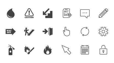 Illustration for Fire safety, emergency icons. Fire extinguisher, exit and attention signs. Caution, water drop and way out symbols. Chat, Report and Calendar line signs. Service, Pencil and Locker icons. Vector - Royalty Free Image