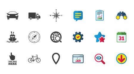 Illustration for Navigation, gps icons. Windrose, compass and map pointer signs. Bicycle, ship and car symbols. Calendar, Report and Download signs. Stars, Service and Search icons. Statistics, Binoculars and Chat - Royalty Free Image