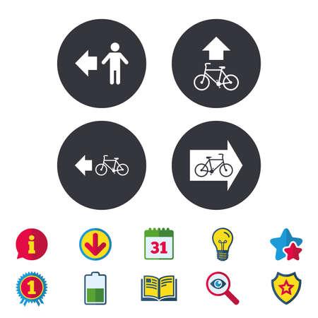 Ilustración de Pedestrian road icon. Bicycle path trail sign. Cycle path. Arrow symbol. Calendar, Information and Download signs. Stars, Award and Book icons. Light bulb, Shield and Search. Vector - Imagen libre de derechos